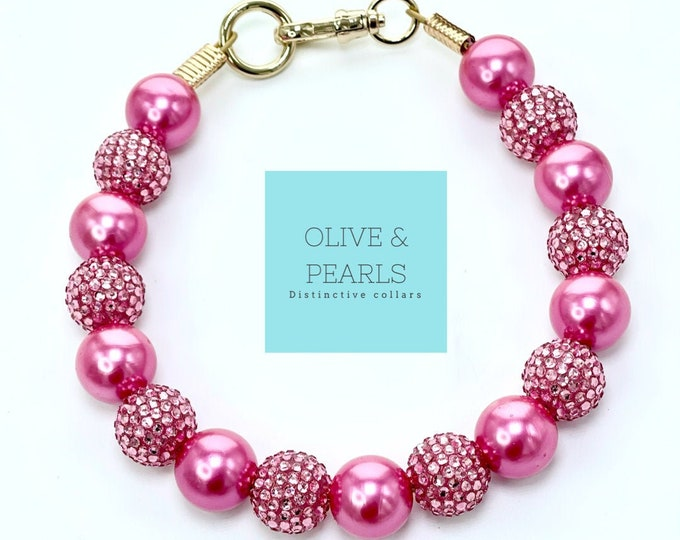 "The ""Paris"" Pink Pearl Dog Collar"
