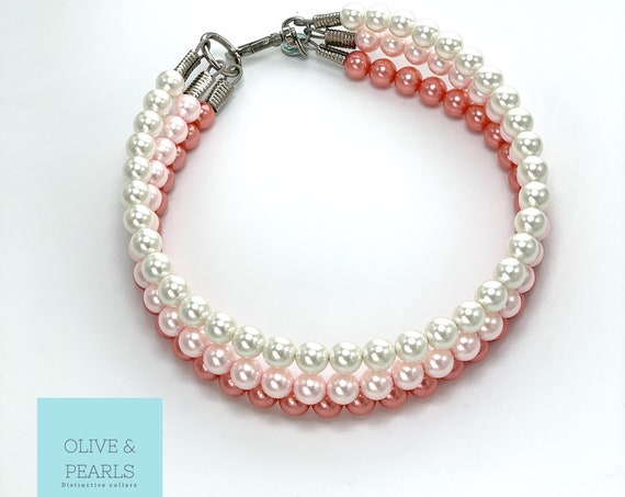 "The ""Teagan"" Pearl Dog Collar, Pearl Dog Necklace"