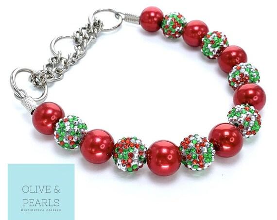 "The ""Elf"" Pearl Bead Dog Collar, Christmas Dog Collar, Custom Dog Collar"