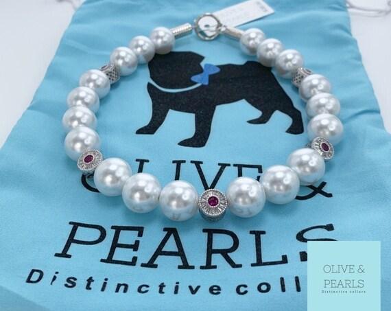 "The ""Elizabeth"" Pearl Dog Collar, Jeweled Dog Collar"