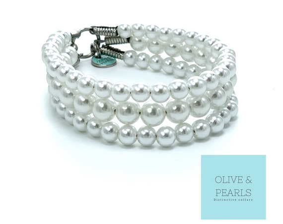 "The ""Little Dena"" Pearl Dog Collar, Dog Pearls"