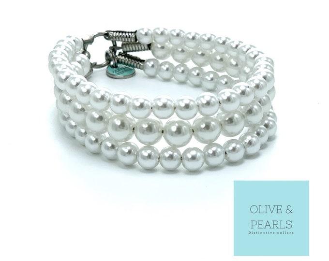 "The ""Little Dena"" Pearl Dog Collar, Dog Pearls"