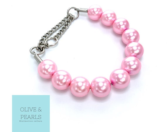 """The """"Maggie"""" Pearl Dog Collar, Large Pearl Dog Collar, Pearl Dog Necklace, Jumbo Pearl Dog Collar"""