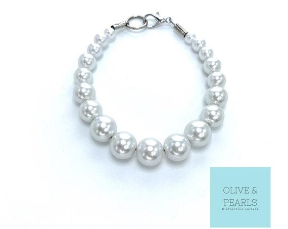 "The ""Mini Phoebs"" Pearl Dog Collar, Beaded Dog Collar, Pearl Bead Dog Collar"