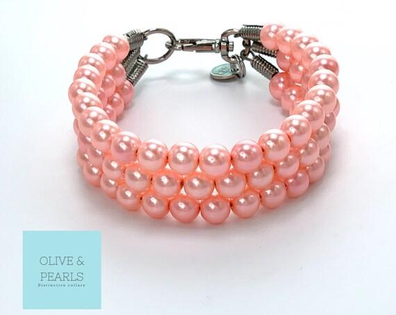 "The ""Mimi"" Pearl Dog Collar, Custom Dog Collar, Large Dog Pearl Collar, Pearls for Dogs"
