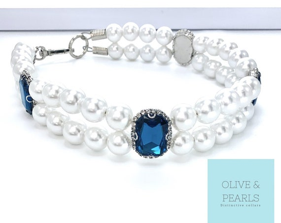 "The ""Claudia"" Pearl Dog Collar, Jeweled Dog Collar"