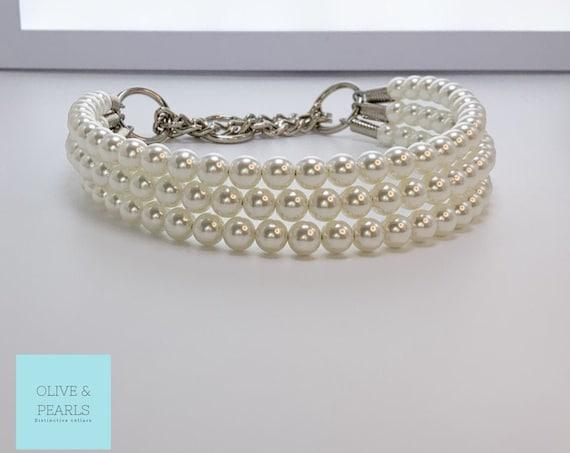 """The """"Hailey"""" Pearl Dog Collar, Beaded Dog Collar, Dog Pearls, Jeweled Dog Collar"""