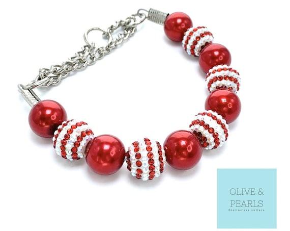 """The """"CIndy Lou"""" Pearl Bead Dog Collar, Christmas Dog Collar, Custom Dog Collar, Pearl Dog Collar Large Dog"""