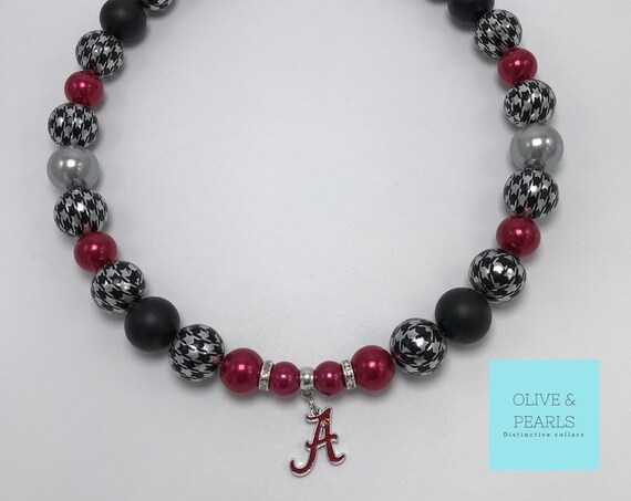 University of Alabama Pearl  Dog Collar, Roll Tide Dog Collar, Crimson Tide Dog Collar, Alabama Dog Pearls
