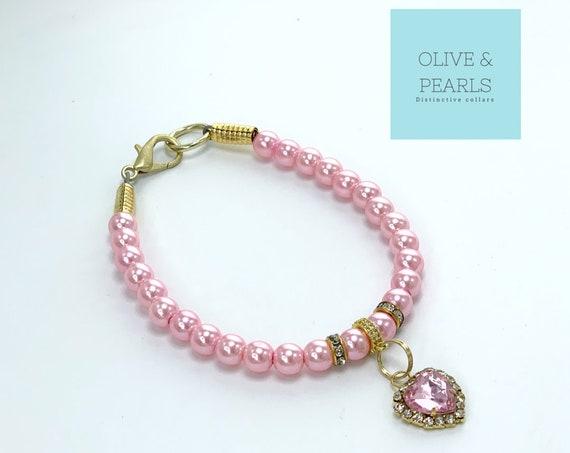"""The """"Aurora"""" Pearl Dog Collar, Jeweled Dog Collar, Heart Dog Collar"""