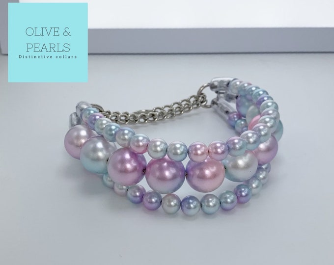 "The ""Ariel"" Pearl Dog Collar, XL Pearl Dog Collar, Dog Pearls"