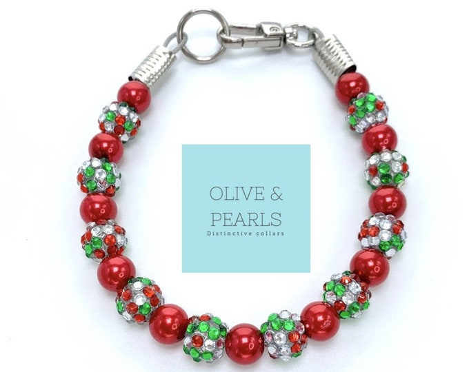 "The ""Elfie"" Pearl Bead Dog Collar, Holiday Dog Collar, Christmas Dog Collar, Dog Pearls"