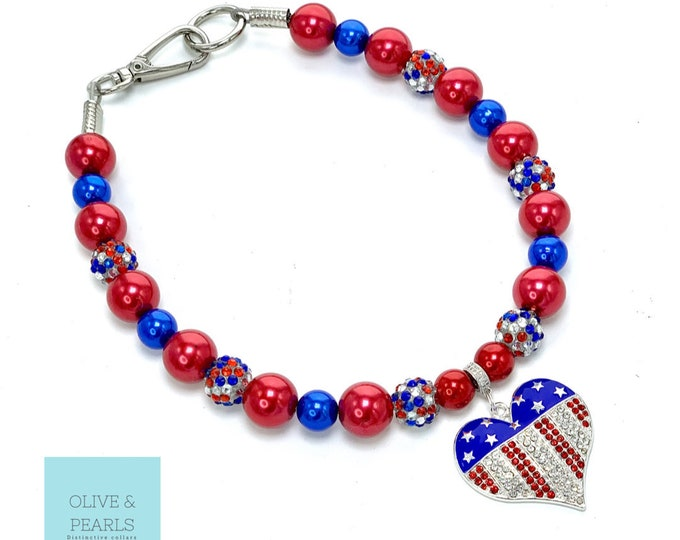 "The ""Anna Blair"" Patriotic Pearl Dog Collar"