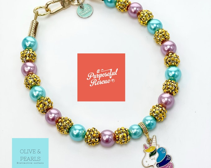 "The ""Magda"" Magical Unicorn Pearl Dog Collar"
