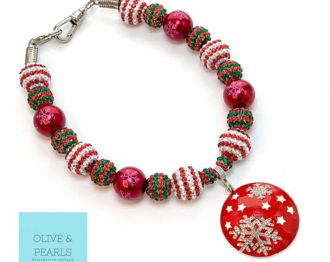 "The ""Meri Meri"" Christmas Pearl Dog Collar"