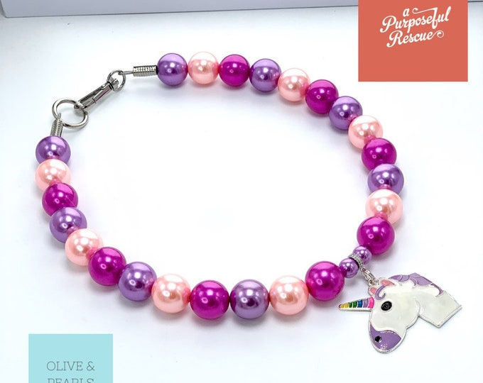 "The ""Gemma"" Magical Unicorn Pearl Dog Collar"