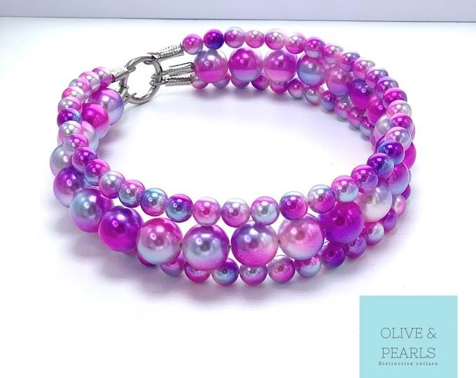 "The ""Ariel"" Pearl Dog Collar, XL Pearl Dog Collar, Dog Pearls"