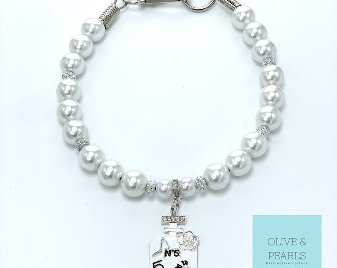 "The ""Gabrielle"" Pearl Dog Collar, Dog Pearls, Jewelry for Dogs"