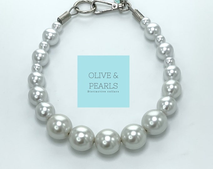 "The ""Barbara"" Pearl Dog Collar, Big Dog Pearl Collar, Dog Pearls, Pearl Dog Necklace, Durable Dog Collar"