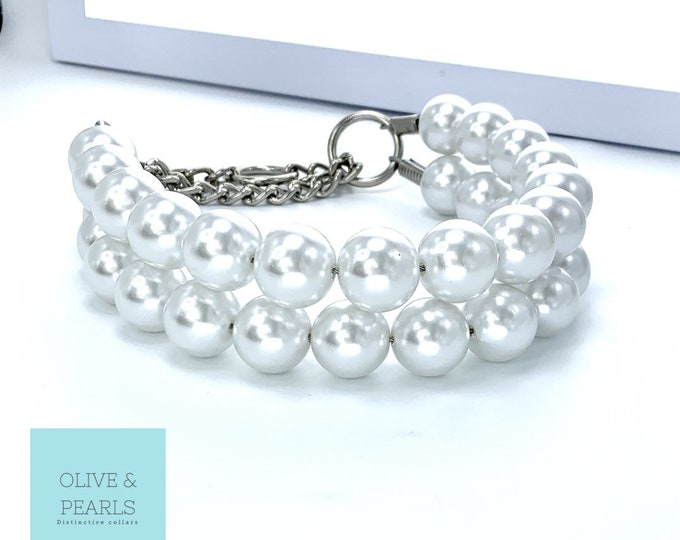 """The """"Jackie O"""" Pearl Dog Collar, Dog Pearls, Pearls for Dogs, Large Dog Pearl Collar"""