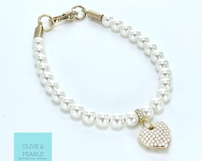 "The ""Caroline"" Pearl Dog Necklace, Pearl Dog Collar, Dog Pearls"