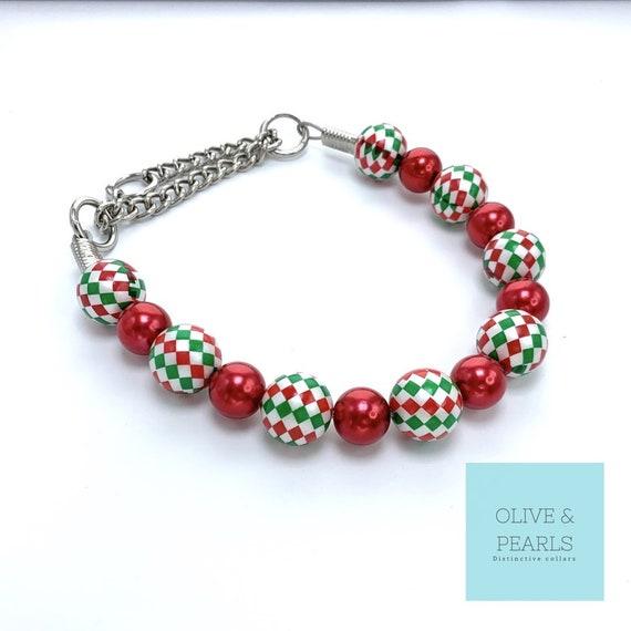 "The ""Pierce"" Pearl Dog Collar, Dog Pearls, Christmas Dog Collar"