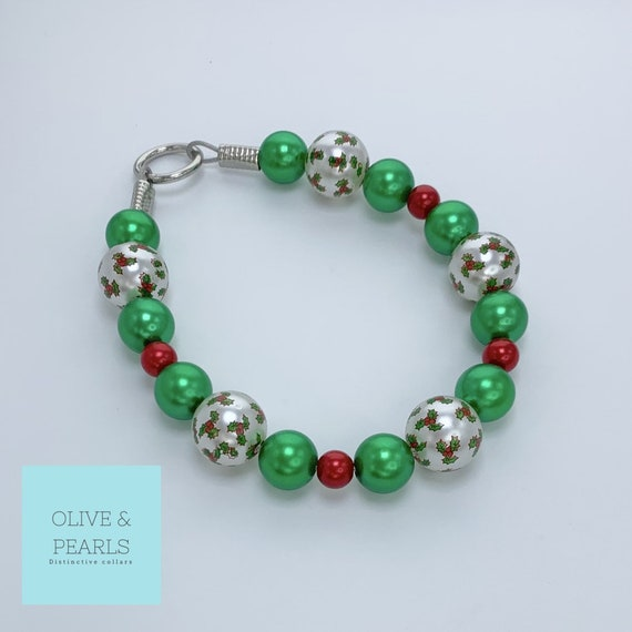 "The ""Mistletoe"" Pearl Dog Collar, Holiday Dog Collar, Christmas Dog Collar, Beaded Dog Collar, Pearl Christmas Dog Collar"