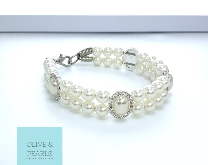 """The """"Chanelle"""" Pearl Dog Collar, Pearl Dog Necklace, Luxury Dog Jewelry"""