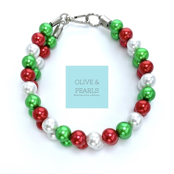 "The ""Joy"" Pearl Bead Dog Collar, Beaded Dog Collar, Christmas Dog Collar"