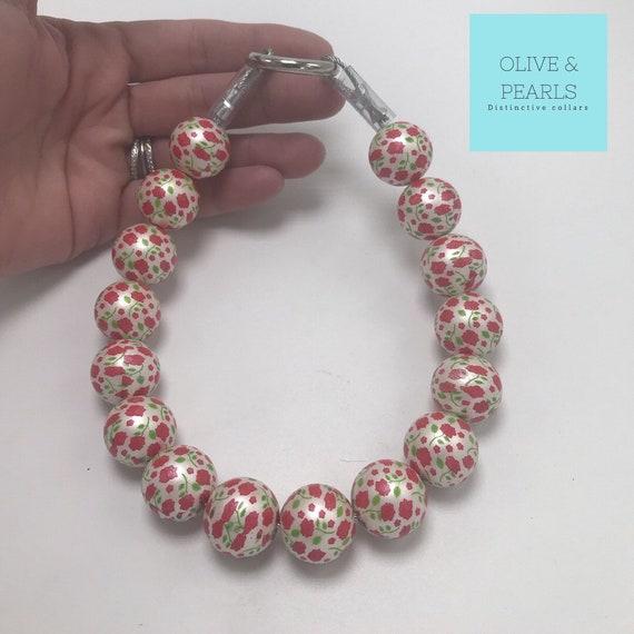 "The ""Rosy"" Pearl Dog Collar, Beaded Dog Collar, Pearl Collar, Large Dog Pearl Collar, Dog Pearls"