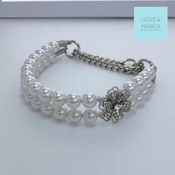 "The ""Quinn"" Pearl Dog Collar, Bead Dog Collar, Pearl Collar, Jeweled Dog Collar"