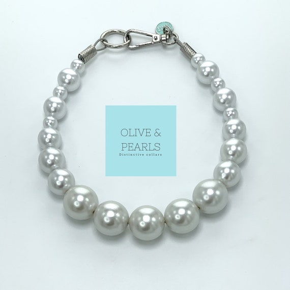 """The """"Barbara"""" Pearl Dog Collar, Big Dog Pearl Collar, Dog Pearls, Pearl Dog Necklace, Durable Dog Collar"""