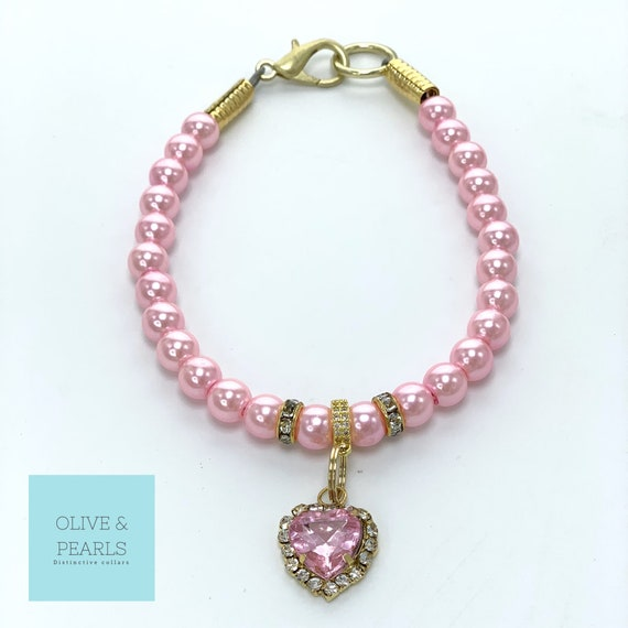 "The ""Aurora"" Pearl Dog Collar, Jeweled Dog Collar, Heart Dog Collar"