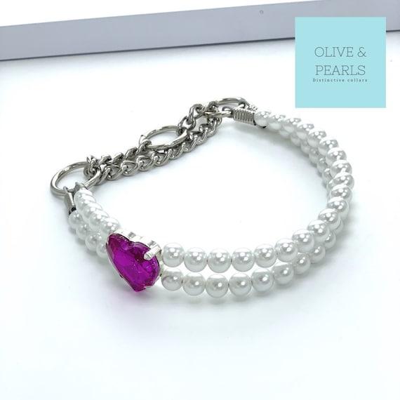 "The ""Lisette"" Pearl Bead Dog Collar, Pearl Dog Collar, Dog Jewelry"