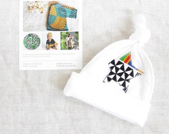 African Print New Baby Gift Set, Hat and Bib Applique Star Set