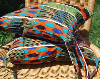 Wax Print Garden Seat Cushion, Kente Print Outdoor Cushion