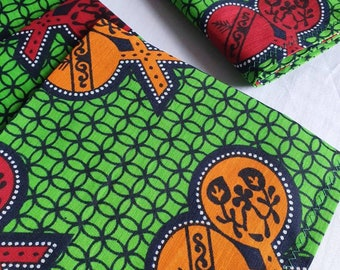 African Print Table Runner and Napkins Set - Green