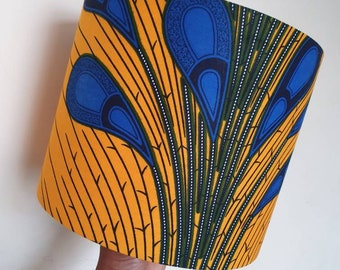 African Print Lampshade 20cm and 25cm - Yellow Blue