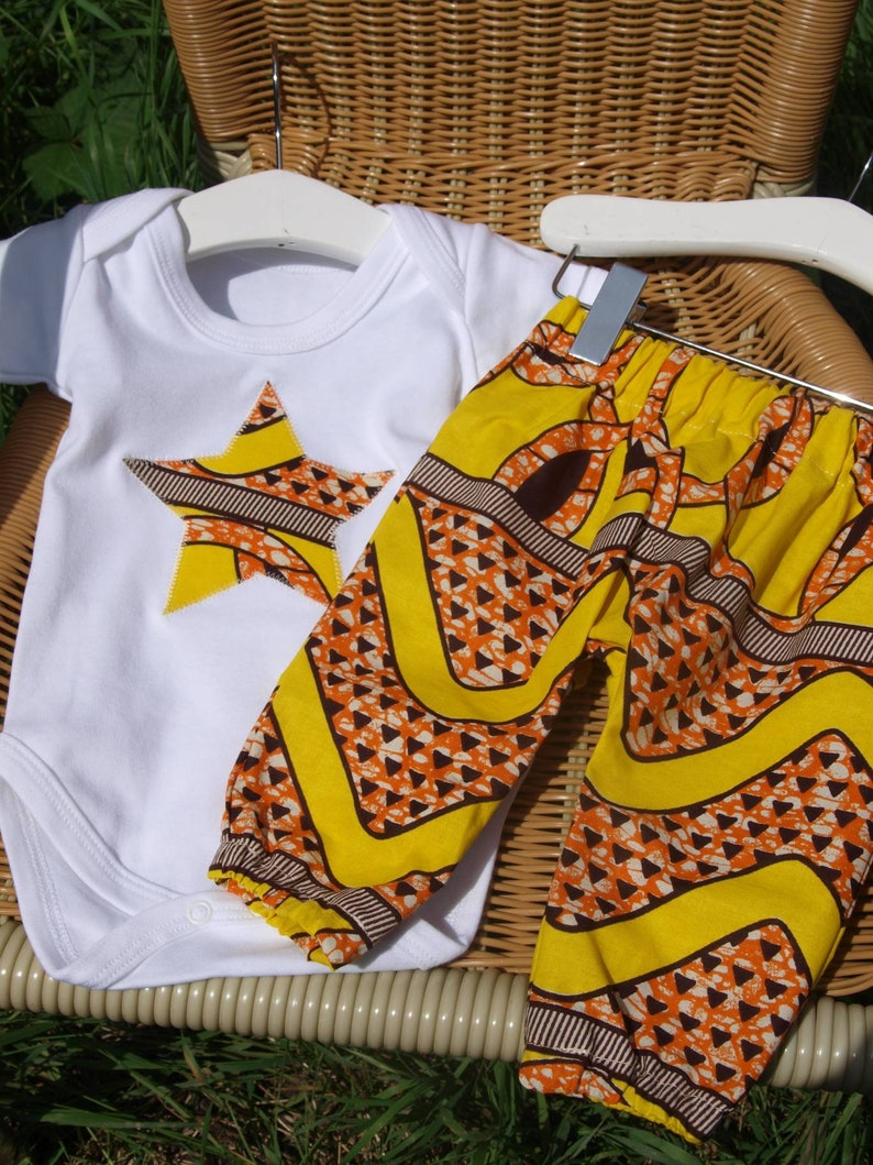 New Baby African Print Clothing Set onesie and headtieheadband 0-12 months trousers