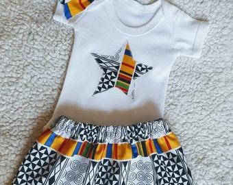 New Baby Girl African Print Skirt Set - onesie and headtie/headband 0-12 months