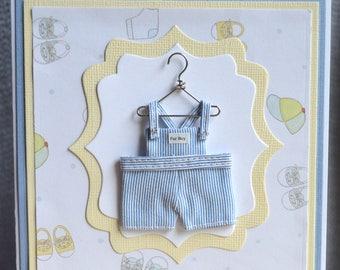 Handmade Welcome Baby Boy Card-Handmade Cute Overalls on Hanger Baby Boy Congratulations Card-Baby Shower Handmade Boy Card-Blue and Yellow