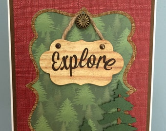 Handmade EXPLORE wilderness theme-Hiking themed card-Hiking path die trees Happy Father's Day or Birthday card-Outdoor themed handmadecard