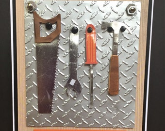 """Handmade Father's Day Greeting Card With 3D Tools and Tool Box-""""You nailed it!"""" Handmade Birthday Day Card"""