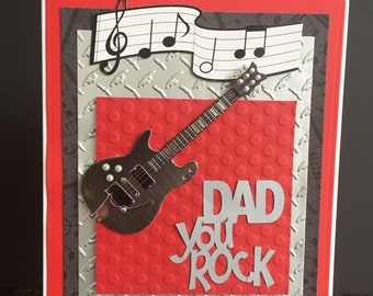 Handmade Father's Day Greeting Card-Happy Father's Day or Happy Birthday Card-Dad You Rock Handmade Card-Guitar Father's Day/Birthday Card