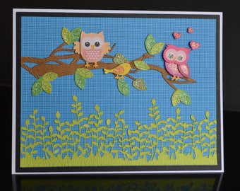 Handmade 3D Owl Card-Happy Birthday, Mother's Day, Thinking of You, Friendship, Get Well Handmade Card Wite Cute Owls