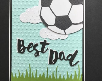 Handmade Best Dad Soccer card, Fathers Day, diecut soccer ball net grass thank you for all you do