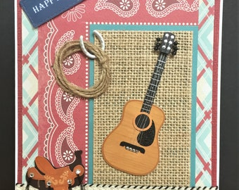 Handmade Country Music Card-Western card, cowboy, guitar, saddle, rope, unisex, Father's DayBirthday, congrats, welcome, hello,