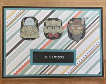 Tres Amigos Handmade 3D Greeting Card with  Whimsical Cats Cat Characters Stitched diecuts Friendship Birthday