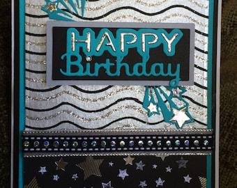 Handmade Happy Birthday card, lots of bling, clear rhinestone flourishes,  metallic stars dramatic black turquoise metallic silver
