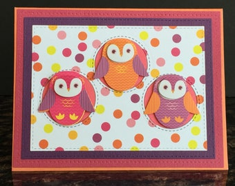 Handmade Cute Card with 3D Owls-Happy Birthday, Thinking Of You, Just a Note, Friendship Card